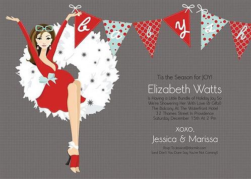 Holiday Wreath Baby Shower Invitations