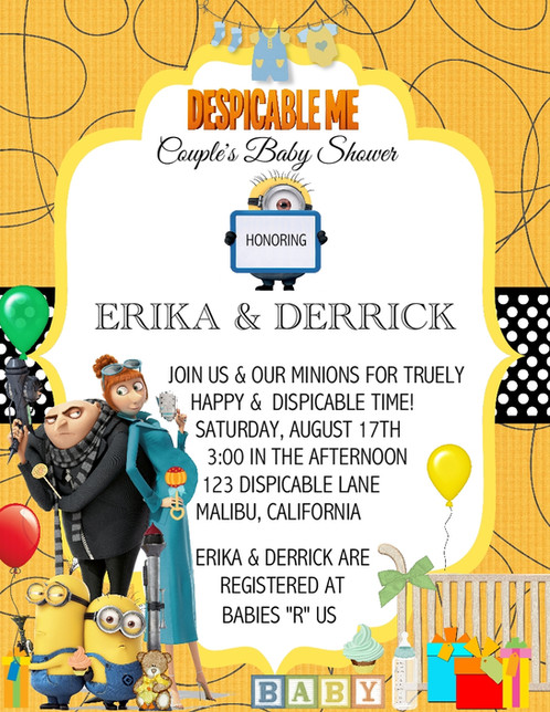 Despicable me baby shower invitation filmwisefo