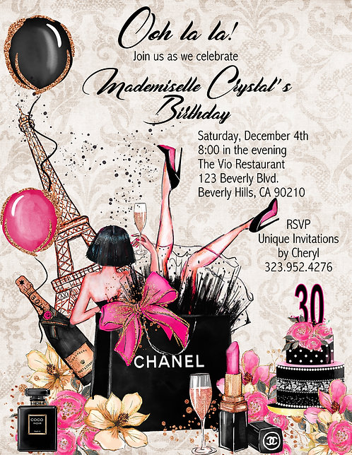 Ooh la la Chanel Paris Birthday Party Invitation (sold in sets of 10)