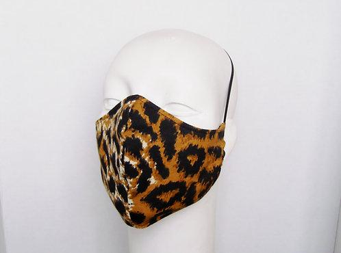 Leopard Print Contoured Face Mask with Filter Pocket