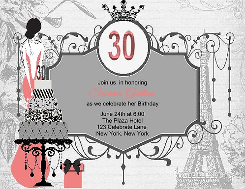 Paris 30th Birthday Party and  Event Invitation