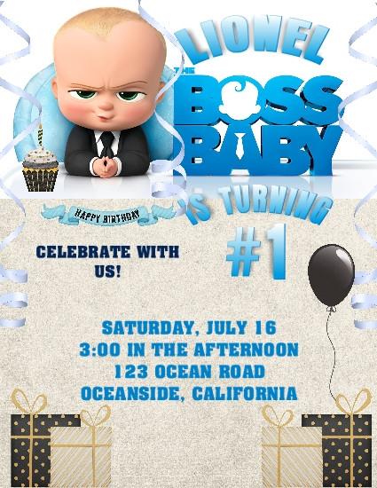 Boss Baby Birthday Party Keepsake Bottle Invitation Cards