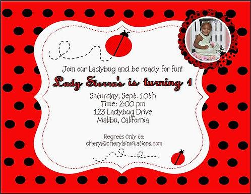 Ladybug Birthday Party Invitation