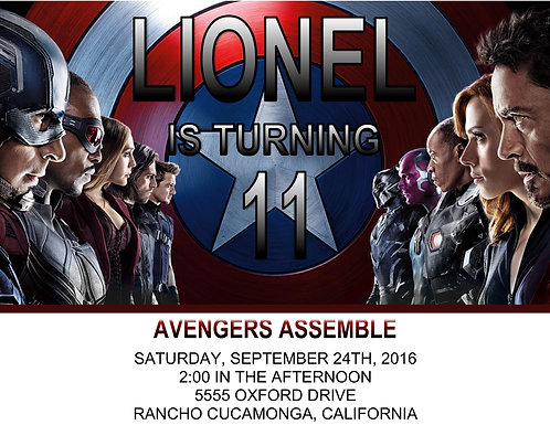 Avengers Assemble Ticket Birthday Party Invitations