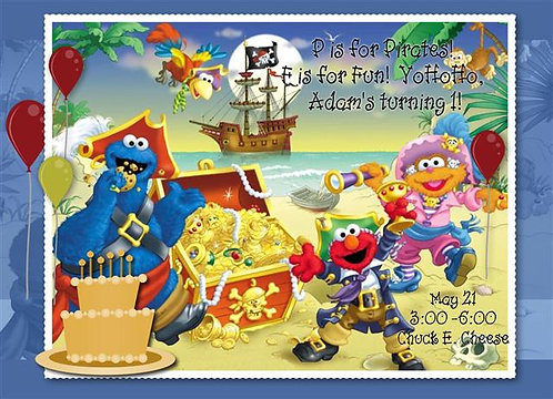 Sesame Street Pirate Birthday Party Invitation