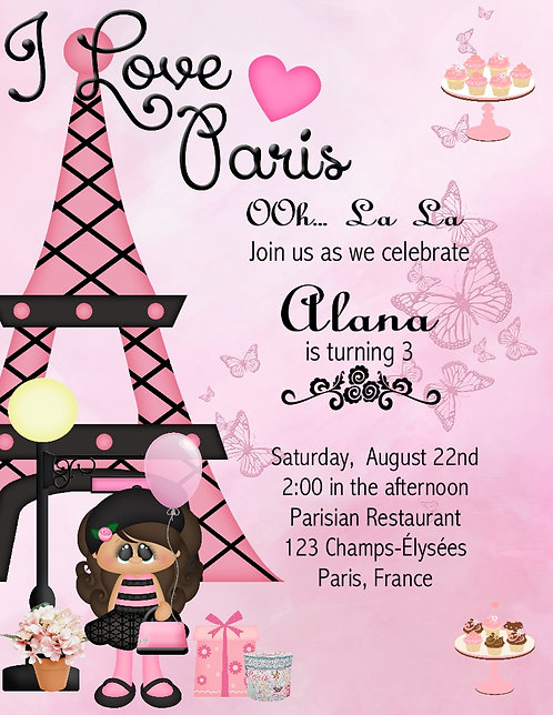 African American I Love Paris Kid Party Invitation