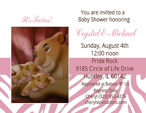 #3 Lion King Princess Twins Baby Shower Invitations
