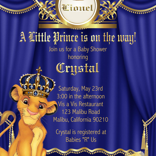 Boy baby shower invitations eventsunique invitations by cheryl royal prince lion king baby shower invitations sold in sets of 10 filmwisefo Images