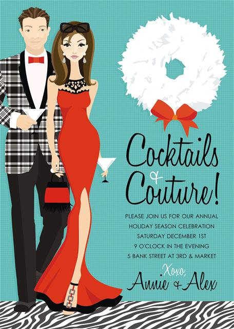 Brunette Cocktails and Couture Holiday Party and  Event Invitation