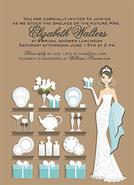 Elegant Brunette Stock the Shelves Bridal Shower and  Event Invitation