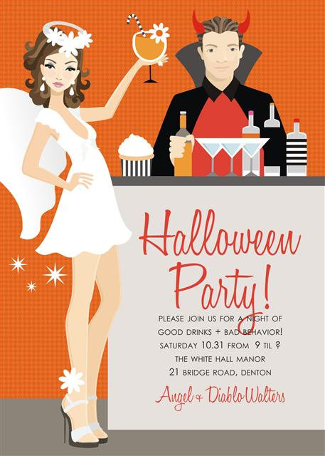 Brunette Angel + Devil Halloween Party and  Event Invitat