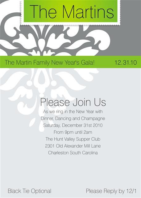 Green Festive Flourish Holiday Party and  Event Invitation