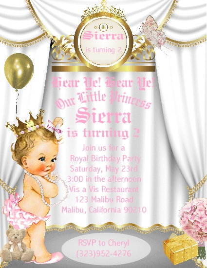 Little Princess Blonde Birthday Party Keepsake Bottle Invitation