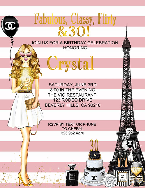 Chanel Birthday Cocktail Party &  Event Invitation (sold in sets of 10)