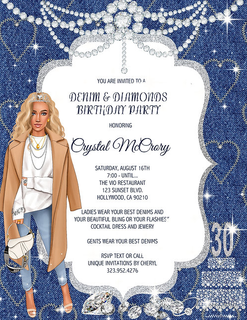 Denim & Diamond Birthday Lady Invitation (sold in sets of 10)
