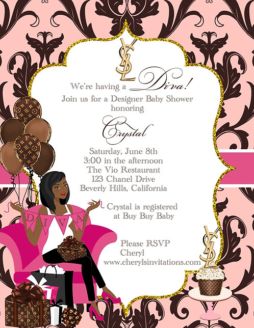 Designer Diva  Baby Shower Invitations (sold in sets of 10)