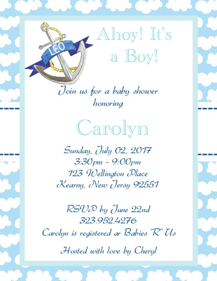 #2 Nautical Baby Shower Invitation