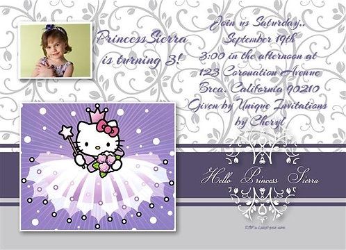 Hello Kitty Princess Birthday Party Invitation