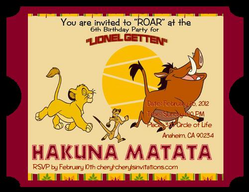 4 Lion King Birthday Party Invitations