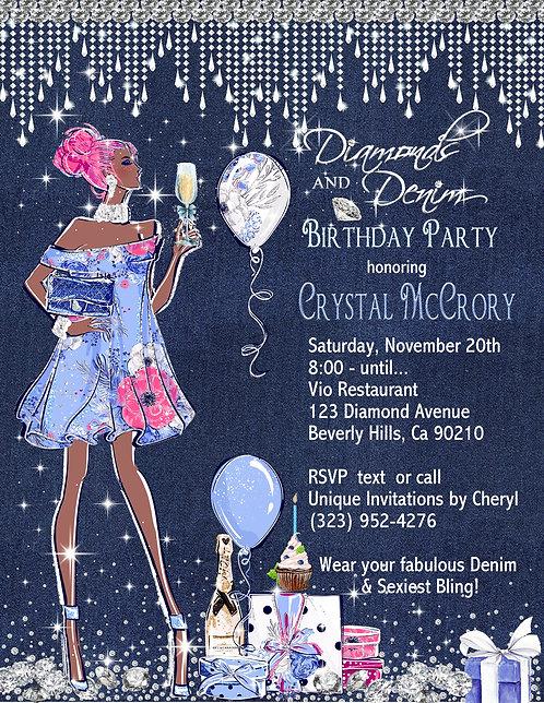 African American Denim & Diamond Birthday Champagne Invitation ( sets of 10)