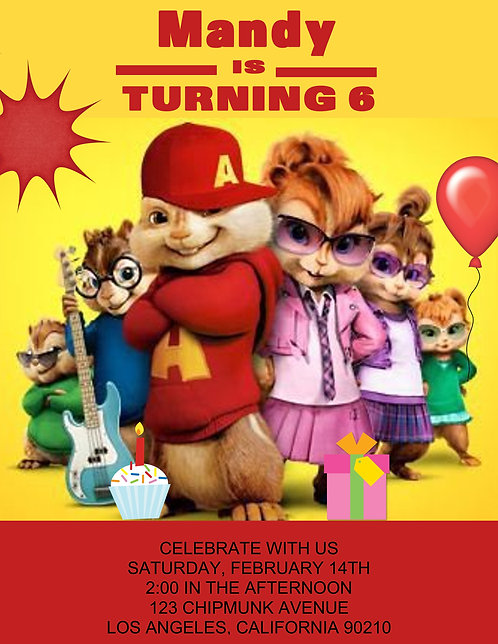 The Chipmunks & Chippettes Birthday Party Invitations
