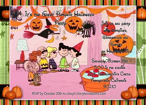 It's the Great Pumpkin Costume Halloween Party and  Event Invitat