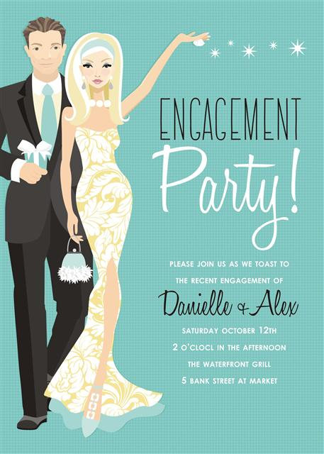 Blue Blonde Couples Engement Party and  Event Invitati