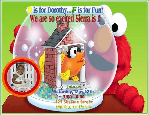 Sesame Street Elmo Fish Bowl Birthday Party Keepsake Bottle Invitation