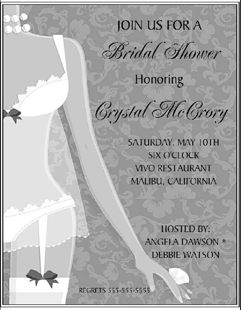 BW Sexy Lingerie Bridal Shower and  Event Invitation
