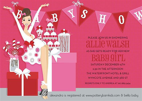 Tickled Hot Pink Baby Shower Invitations