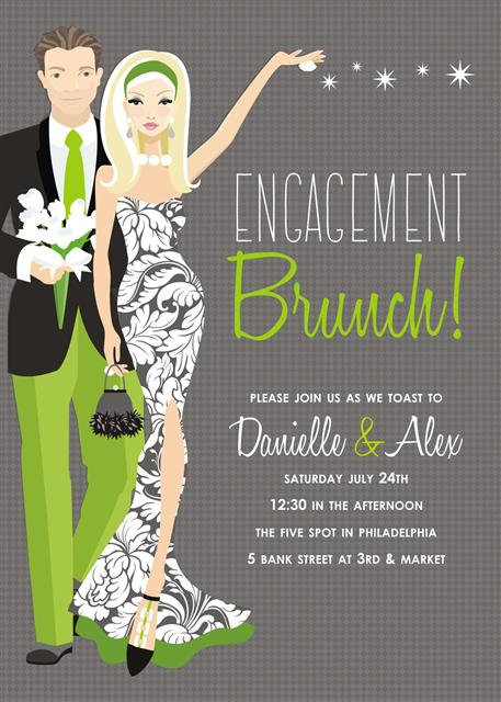 Blonde Couples Engagement Brunch Bridal Shower and  Event Invitation