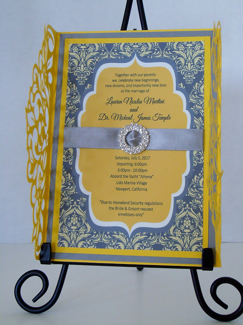 Yellow & Gray Damask Wedding and Event Invitation