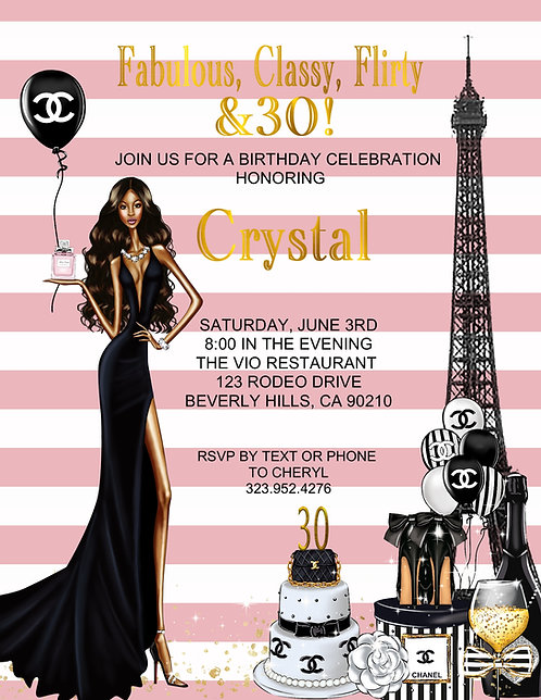 Chanel Sexy Birthday Party Afro American and  Event Invitation (sold in sets