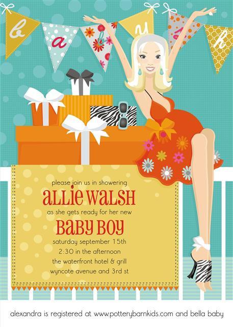 Blonde Blue Banner Baby Shower Invitation