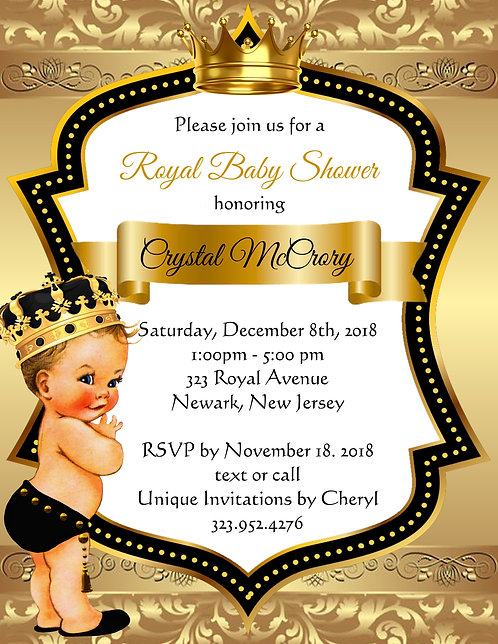 Golden Blonde Little Prince Baby Shower Invitations (sold in sets of 10)