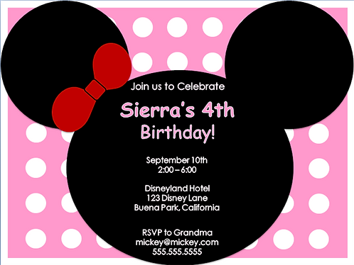 Minnie Mouse Ears Birthday Party Invitation