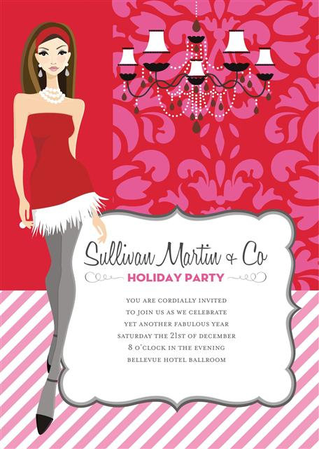 Sexy Brunette Holiday Party and  Event Invitation