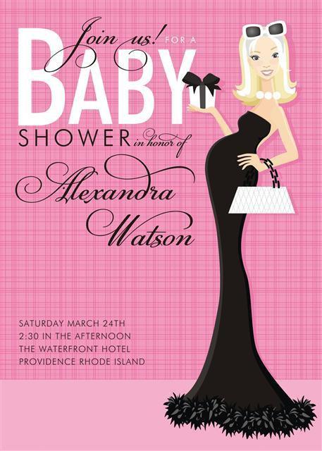 Pink Formal Blonde Baby Shower Invitations
