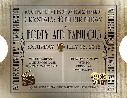 Birthday Ticket  Party and  Event Invitation