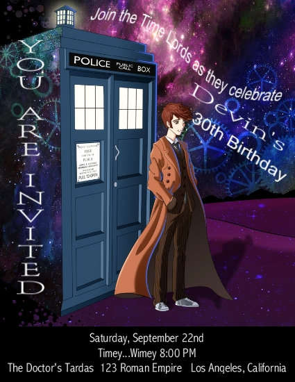 Dr Who Time Lords Birthday Party and  Event Invitation