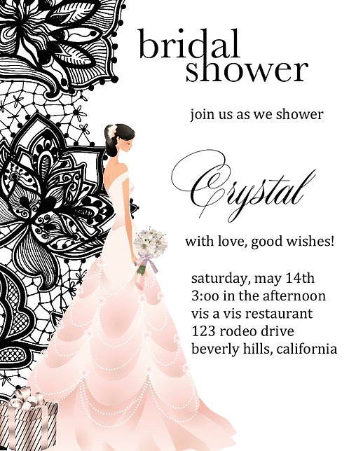 Brunette Black Lace Bridal Shower Party and  Event Invitation