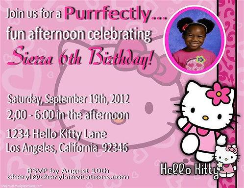 Hello Kitty 6th Birthday Party Invitation