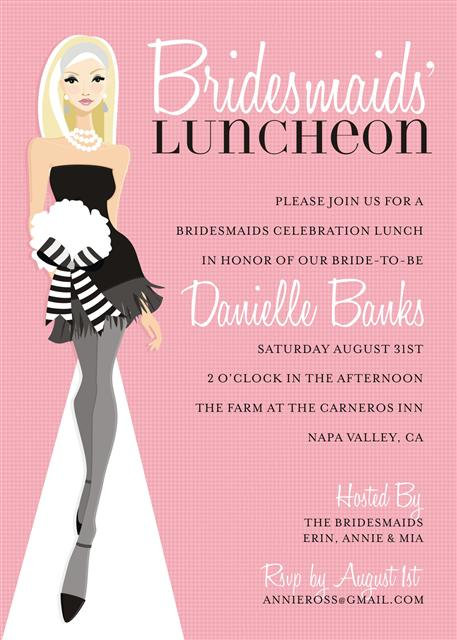 Pink Blonde Bridesmaid Luncheon Bridal Shower and  Event Invitation