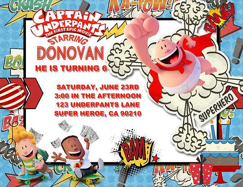 Captain Underpants Birthday Party Invitation