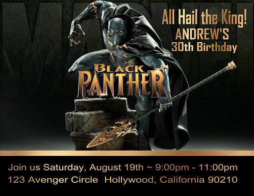 Adult Black Panther Birthday Party Invitation