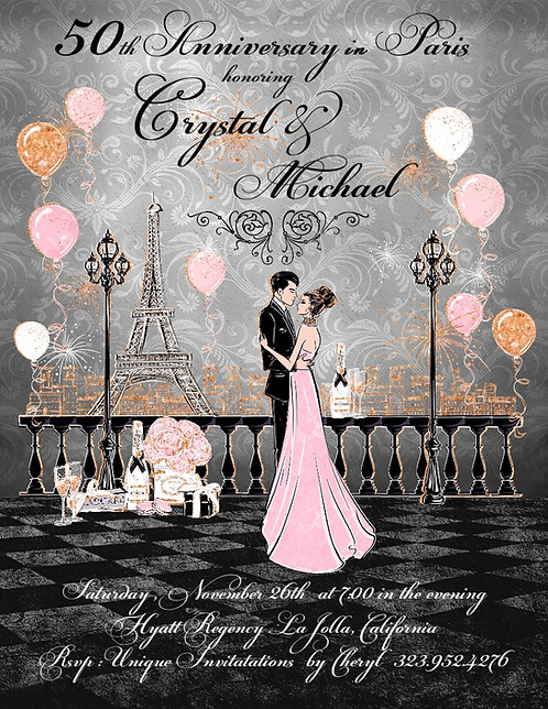 Anniversary in Paris Invitation (sold in sets of 10)