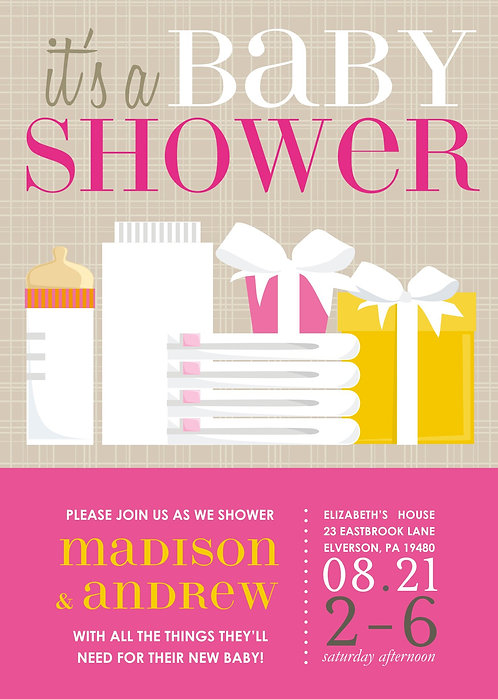 Pink BaBa  Baby Shower Invitations