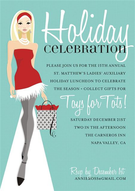 Blonde Holiday Celebration Party and  Event Invitation
