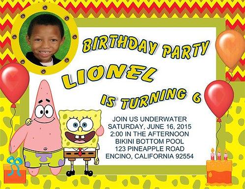 #3 Spongebob Underwater Birthday Party Keepsake Bottle Invitation