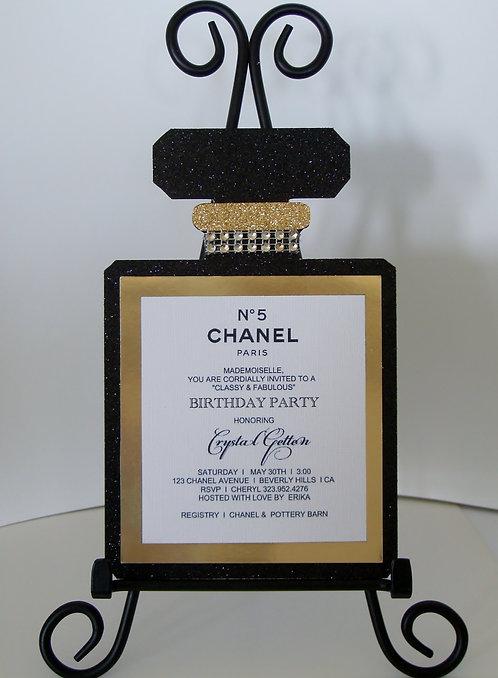 Chanel No 5 Perfume Birthday Party Invitation